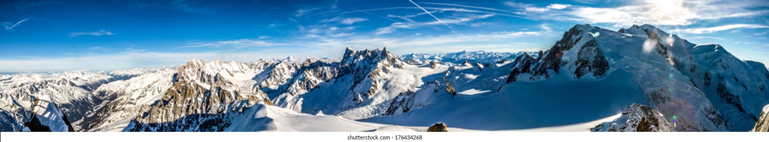 Panoramic view of the Mont Blanc from the Aiguille du Midi, Chamonix, France
