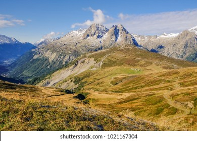 A panoramic view of Mont Blanc massif from Fleger region, Chamonix valley, France