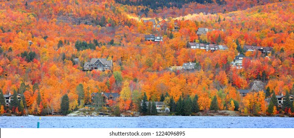 Panoramic view of Mont Tremblant village in Quebec