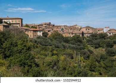 Panoramic view of Montalcino, lovely medieval hill town in the Crete Senesi region of central Tuscany