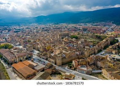 Panoramic view of Montblanc city in Tarragona province, Catalonia Spain