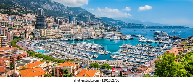 Panoramic view of Monte Carlo harbor in Monaco.
