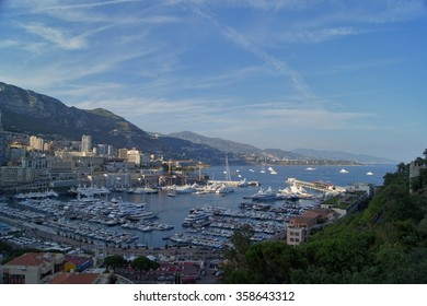 Panoramic view of Monte Carlo harbour in Monaco bay yacht