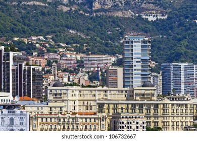 Panoramic view of Monte-Carlo in Monaco. Principality of Monaco is a sovereign city state, located on the French Riviera in Western Europe.
