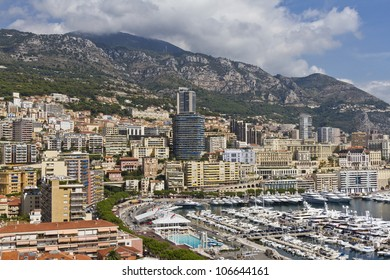 Panoramic view of Monte-Carlo in Monaco with residential buildings. Principality of Monaco is a sovereign city state, located on the French Riviera in Western Europe.