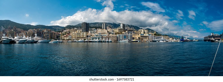 Panoramic view of Montecarlo ville from the sea