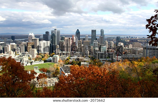 Panoramic View of Montreal, Quebec, Canada in the fall season from mount royal