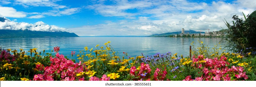 Panoramic view of Montreux and Lake Geneva, Switzerland.