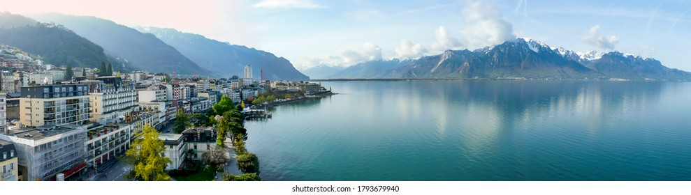 Panoramic view of the Montreux, Switzerland, lake Lec Leman and mountains in the background.