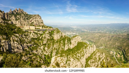 Panoramic view of Montserrat Mountain and the Monastery of Santa Maria de Montserrat