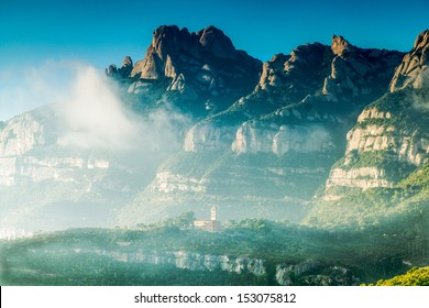 A panoramic view of Montserrat Mountains / Montserrat Mountains / Catalonia. Spain