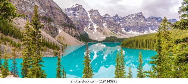 Panoramic view at the Moraine Lake in Canadian Rocky Mountains near Banff - Alberta