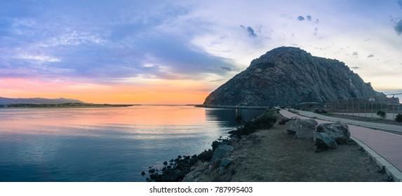 Panoramic view of Morro Rock at sunset, Morro bay, California