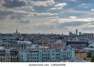 Panoramic view of the Moscow city center skyline in Russia.