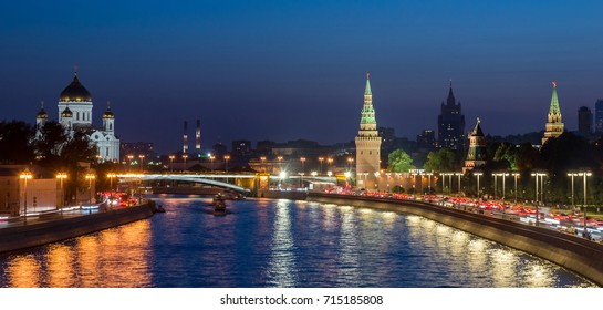 panoramic view, Moscow Kremlin and embankment of Moscow river in Moscow, Russia, sunset view