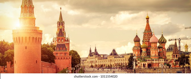 Panoramic view of Moscow Kremlin and St Basil's Cathedral on Red Square in Moscow, Russia. Red Square is the main tourist attraction of Moscow. Beautiful panorama of the heart of Moscow in sun light.
