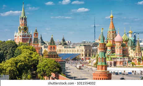 Panoramic view of Moscow Kremlin and St Basil's Cathedral on the Red Square in Moscow, Russia. The Red Square is the main tourist attraction of Moscow. Beautiful sunny cityscape of central Moscow.