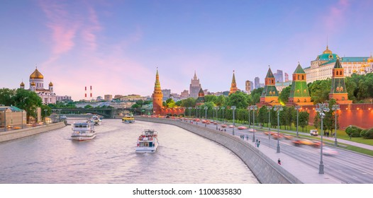 Panoramic view of the Moscow river and the Kremlin palace in Russia at sunset