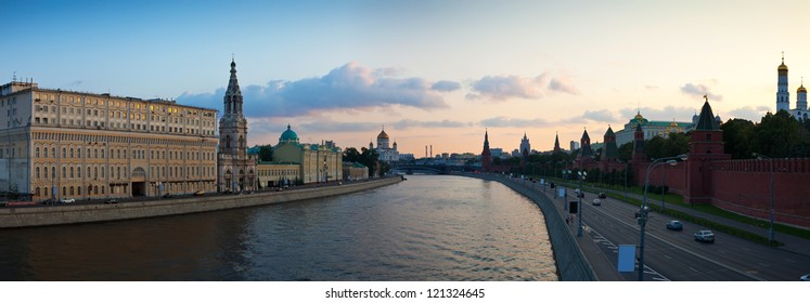 Panoramic view of Moscow in summer sunset. Russia