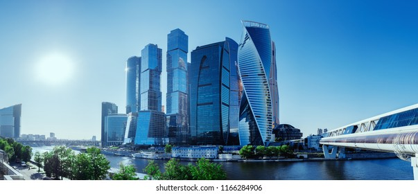 Panoramic view of Moscow-City and Moscow River. International business center in the daytime