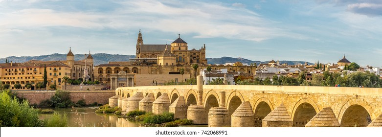 Panoramic view at the Mosque-Cathedral with Roman bridge in Cordoba - Spain