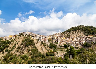 Panoramic view of Motta Camastra, a village in Sicily not far from Taormina, perched on the top of a hill in the valley of the Alcantara River