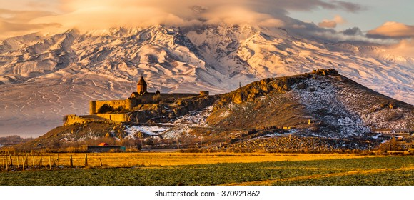 Panoramic view of Mount Ararat in Armenia. Sunrise over Ararat in Armenia with Khor Virap Monastery. Letter box format