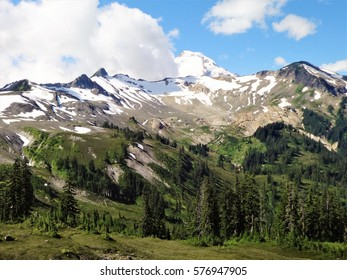 Panoramic view of Mount Baker from the Chain Lakes trail