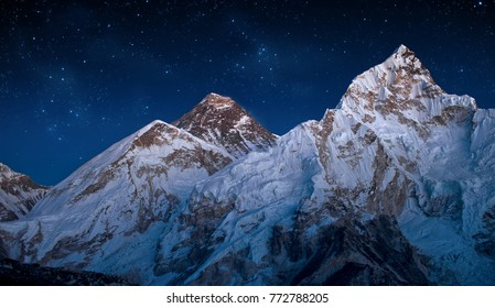 Panoramic view of Mount Everest and Mount Nuptse taken after sunset,Himalayas