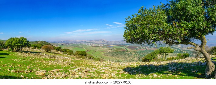 Panoramic view from Mount Evyatar in the Upper Galilee towards the Hula Valley and the Golan Heights. Northern Israel