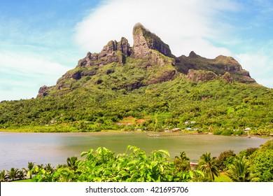 Panoramic view of Mount Otemanu Bora Bora French Polynesia