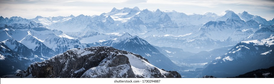 panoramic view from mount pilatus on sunny winter day in lucerne