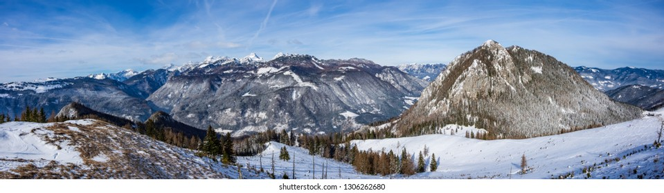 Panoramic view of the mount Rofatec and the Kamnik-Savinja Alps, from the top of the mount Lepenatka, Slovenia