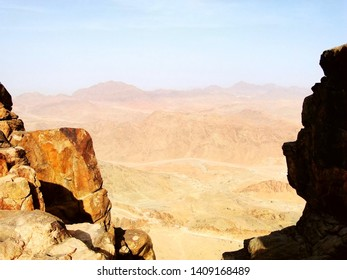 Panoramic view of the Mount Sinai from hill, a mountain in the Sinai Peninsula of Egypt, a possible location of the biblical Mount Sinai, also famous for hiking to watch sunset and sunrise scenery.