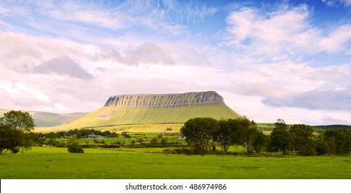 Panoramic view of the mountain Benbulbin in Sligo, Ireland