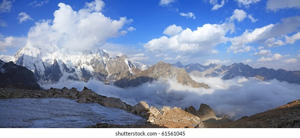 Panoramic view of the mountain Dykh-tau. It is second highest mountain in Europe. Its height 5206 meters