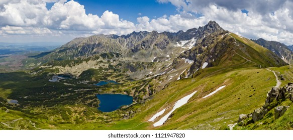 Panoramic view of the mountain landscape, Tatra National park, Poland. High Tatras, Carpathian mountains