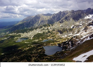 Panoramic view of mountain ponds in Gasienicowa Valley, Tatra Mountains - Poland