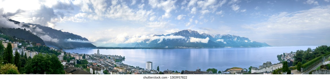 Panoramic view of Mountain range and Lake Geneva from Montreux, Switzerland
