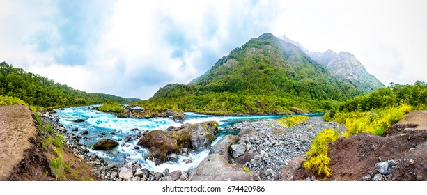 Panoramic view of the mountain river near Puerto Varas, Chile