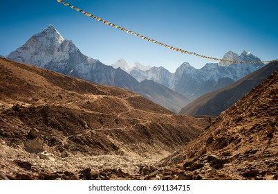 Panoramic view of mountain valley,Nepal.Mount Ama Dablam (6814m)  is on the left