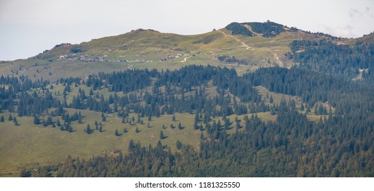 Panoramic view of mountain Velika planina in Kamnik - Savinja Alps, Slovenia