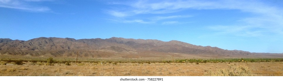 Panoramic view of mountains above the desert, California