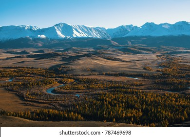 Panoramic view of the mountains of Altai-Chuya ridge, West Siberia, Russia.