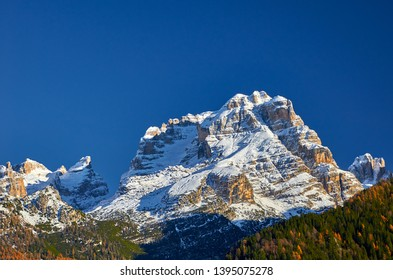 Panoramic view of the Mountains around Madonna di Campiglio Madonna di Campiglio in the the autumn, Italy,Northern & Central Brenta mountain groups ,Western Dolomites, Trentino-Alto Adige, Italy