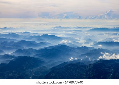 Panoramic view of the Mountains between Northern Vietnam and Southern China; beautiful sea of mountains and clouds in the morning
