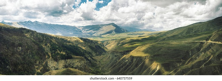 Panoramic view of the mountains in Chechnya