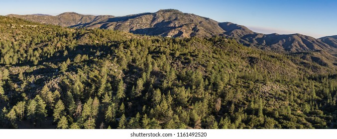Panoramic view of mountains covered by forest in the southern part of California.