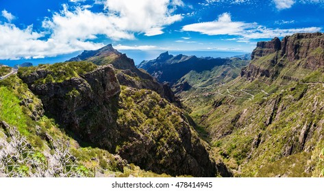 panoramic view of the mountains near Masca village, Tenerife, Canary Islands, Spain