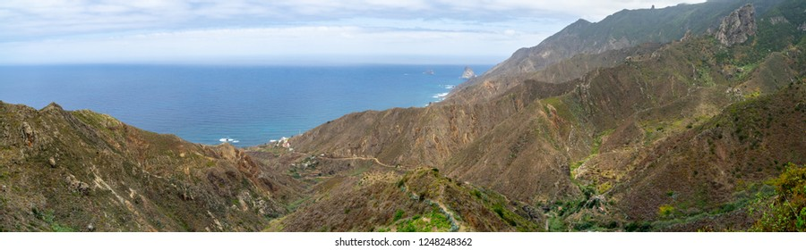 "Panoramic view of the mountains of the northern part of Tenerife. Canary Islands. Spain. View from the observation deck - Mirador ""Risco Mogote""."